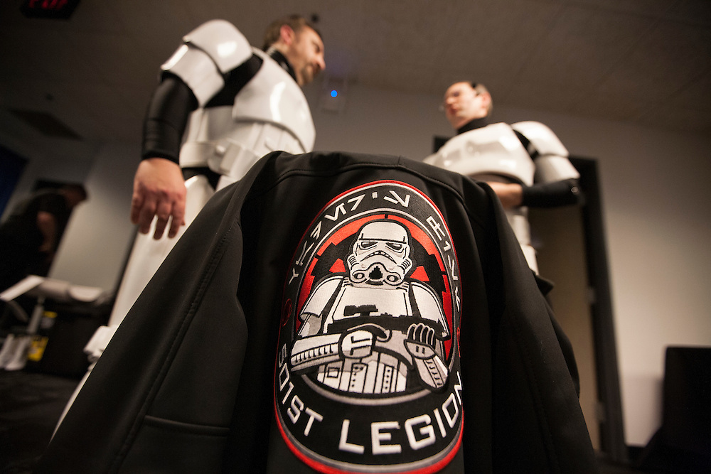 The 501st Legion Central Garrison prepares to interact with fans at Star Wars night at the Timberwolves game at Target Center in Minneapolis December 15, 2015.