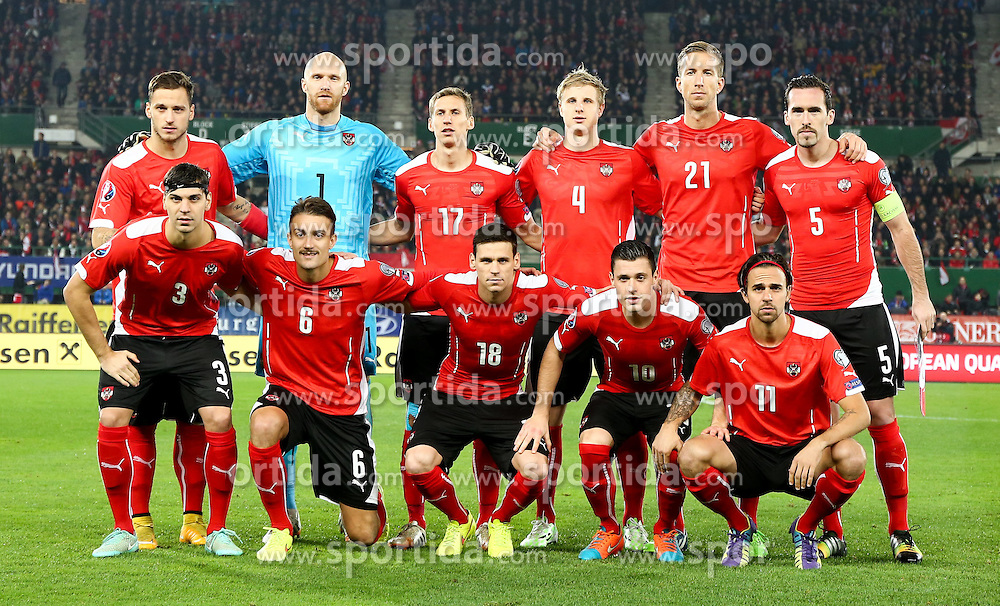 15.11.2014, Ernst Happel Stadion, Wien, AUT, UEFA Euro 2016 Qualifikation, Oesterreich vs Russland, Gruppe G, im Bild Marko Arnautovic (AUT) , Robert Almer (AUT) , Florian Klein (AUT) , Martin Hinteregger (AUT) , Marc Janko (AUT) , Christian Fuchs (AUT) , Alexandar Dragovic (AUT) , Stefan Ilsanker (AUT) , Christoph Leitgeb (AUT) , Zlatko Junizovic (AUT) und Martin Harnik (AUT) // during the UEFA EURO 2016 qualifier group G match between Austria and Russia at the Ernst Happel Stadion, Vienna, Austria on 2014/11/15. EXPA Pictures © 2014, PhotoCredit: EXPA/ Alexander Forst