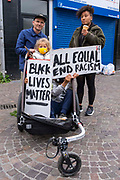 About 100 residents of Folkestone town gathered outside the town hall for a socially distanced show of solidarity in memory of George Floyd, the man recently murdered by Police in Minneapolis, United States on the evening of the 4th of June 2020 in Folkestone, United Kingdom. Home made banners with the slogans Black Lives Matter, Be Anti Racist, All Equal, End Racism and Black Men are good could be seen.