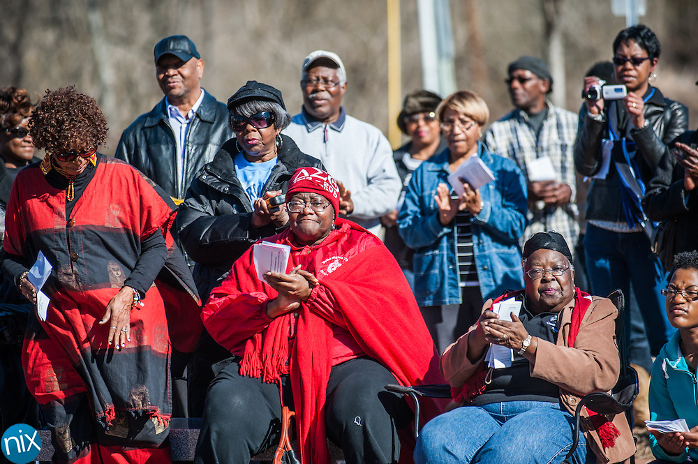 Participants applaud during a wreath laying ceremony honoring the legacy of Dr. Martin Luther King Jr. at the MLK Plaza in Concord Monday afternoon.