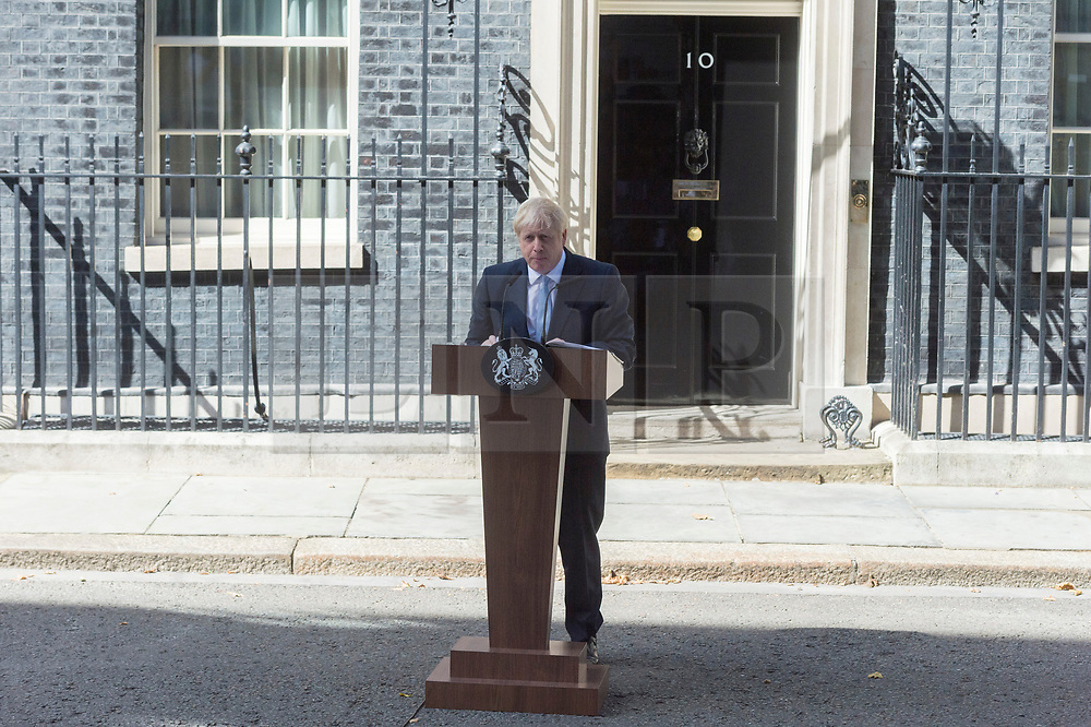 © Licensed to London News Pictures. 24/07/2019. London, UK. Newly elected conservative party leader and British Prime Minister Boris Johnson MP makes a speech outside No.10 Downing Street before ehtering office.   Photo credit: Ray Tang/LNP