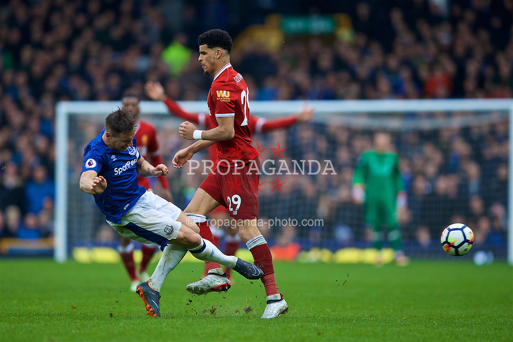 LIVERPOOL, ENGLAND - Saturday, April 7, 2018: Liverpool's Dominic Solanke (right) is tackled by Everton's Morgan Schneiderlin during the FA Premier League match between Everton and Liverpool, the 231st Merseyside Derby, at Goodison Park. (Pic by David Rawcliffe/Propaganda)