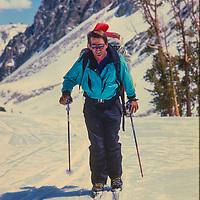 Ski Mountaneers Jay Jensen crosses Paiute Pass in the John Muir Wilderness, Sierra Nevada, California