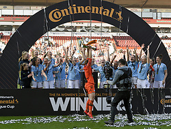 February 23, 2019 - Sheffield, England, United Kingdom - Karen Bardsley leads the celebrations for Manchester City     during the  FA Women's Continental League Cup Final  between Arsenal and Manchester City Women at the Bramall Lane Football Ground, Sheffield United FC Sheffield, Saturday 23rd February. (Credit Image: © Action Foto Sport/NurPhoto via ZUMA Press)