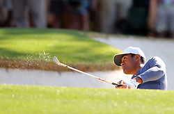 April 6, 2018 - Augusta, GA, USA - Tony Finau hits his second shot out of the fairway bunker on the first hole, which he bogey'd, during the second round of the Masters at Augusta National Golf Club on Friday, April 6, 2018, in Augusta, Ga. (Credit Image: © Curtis Compton/TNS via ZUMA Wire)