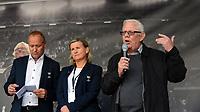 """Fotball Tippeligaen Rosenborg - Sarpsborg 08<br /> 24 august 2014<br /> Lerkendal Stadion, Trondheim<br /> <br /> <br /> <br /> Nils Arne Eggenholder tale ved avdukingen av """"Nils Arne Eggens Plass"""" Til venstre : Tove Moe Dyrhaug og Gøran Sørloth<br /> <br /> <br /> Foto : Arve Johnsen, Digitalsport"""