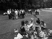 Single-sex groups picnicking before the racing, The women all work together. The men are all friends. Ascot,  22 June 2017