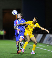 Gillingham's Danny Kedwell holds off the challenge from   Callum Robinson<br /> <br /> Photographer Ashley Western/CameraSport<br /> <br /> Football - The Football League Sky Bet League One - Gillingham v Preston North End - Tuesday 21st October 2014 - MEMS Priestfield Stadium - Gillingham<br /> <br /> © CameraSport - 43 Linden Ave. Countesthorpe. Leicester. England. LE8 5PG - Tel: +44 (0) 116 277 4147 - admin@camerasport.com - www.camerasport.com