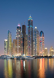Evening view of skyline with aparment building skyscrapers at Marina district in Nw Dubai in  United Arab Emirates