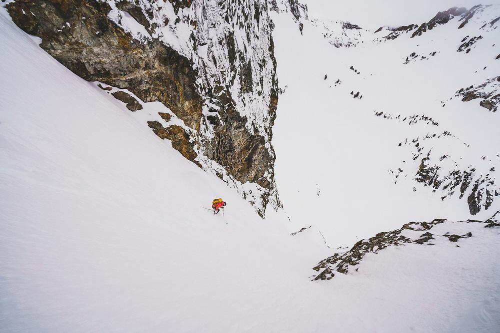 Lani Bruntz skis the JC Couloir, Sawtooth Range, Idaho.