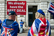Anti - Brexit protesters demonstrate outside the Cabinet office in Whitehall as Ministers hold a Brexit Cabinet meeting on 19th August 2019 in London, United Kingdom.