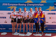 Brandenburg. GERMANY.left Silver Medalist GER W2X, centre Gold medalist  GBR W2-. bow Helen GLOVER and Heather STANNING. winners womens pair  right Bronze medalist ROM W2- awards dock 2016 European Rowing Championships at the Regattastrecke Beetzsee<br /> <br /> Sunday  08/05/2016<br /> <br /> [Mandatory Credit; Peter SPURRIER/Intersport-images]