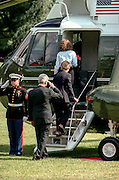 US President Clinton, Hillary Rodham Clinton and daughter Chelsea board Marine One helicopter on the South Lawn of the White House August 19, 1999 in Washington, DC. The Clinton's are traveling to Martha's Vineyard for a vacation.