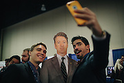University of Miami students Mathew De La Fe, 21, right, and Joshua Zuchniarz, 18, take a selfie with a Rand Paul cutout during day two of the Conservative Political Action Conference (CPAC) at the Gaylord National Resort & Convention Center in National Harbor, Md.