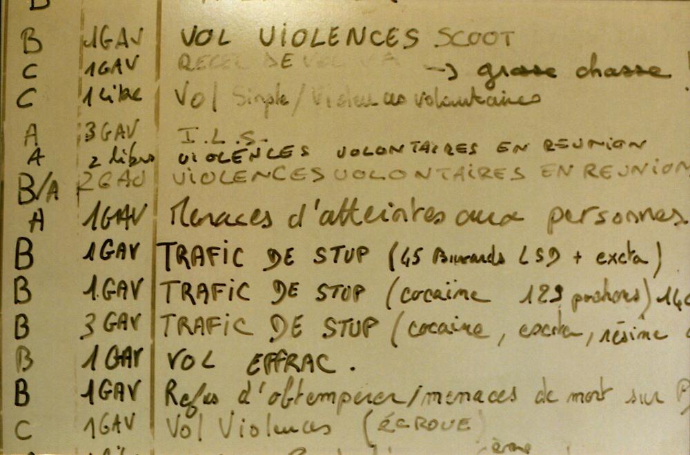 Tableau des crimes enregistrés dans la nuit, commissariat de Corbeil-Essonnes.<br /> <br /> Board of crimes recorded in the night, Corbeil-Essonnes police station.
