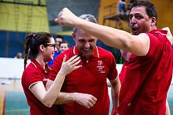 Bruno Majdic, head coach of Nova KBM Branik, celebrates victory with teammates during volleyball match game between Calcit Kamnik and NKBM Branik in 3rd leg of Finals of Slovenian National Championship 2014, on April 5, 2014 in Sportna dvorana, Kamnik, Slovenia. Photo by Matic Klansek Velej / Sportida