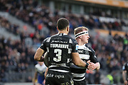 Hull FC outside back Carlos Tuimavave (3) scores his second try to make the score 12-24 and celebrates with his team mates ring the Betfred Super League match between Hull FC and St Helens RFC at Kingston Communications Stadium, Hull, United Kingdom on 16 February 2020.