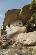 Entrance of built in rock Church of Panagia Theoskepasti, Ikaria, Greece