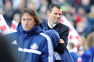 Sunderland manager Gus Poyet can't bear to look .Barclays Premier league, Stoke city v Sunderland at the Britannia stadium in Stoke on Trent, England on Saturday 23rd Nov 2013. pic by Andrew Orchard, Andrew Orchard sports photography,