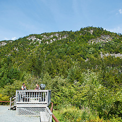 View of the cliff at Lost River Gorge in New Hampshire's White Mountains. North Woodstock.