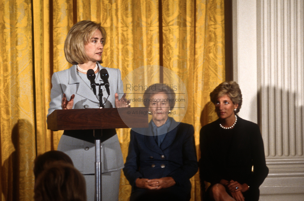 First Lady Hillary Clinton at an event with Katherine Graham Chairman of the Board for the Washington Post Company, and Princess Diana September 24, 1996 in Washington, DC. The ladies were guests of US First Lady Hillary Clinton at a fund-raising breakfast to aid cancer research.