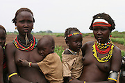 Africa, Ethiopia, Omo Valley, Daasanach tribe women and babies