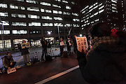 Activists take part in a small protest against the TPP trade agreement (Trans- Pacific partnership) outside the Ministry Of the Economy, Trade and Industry (METI) in Kasumigaseki, Tokyo, Japan. Friday February 5th 2016.  The Trans Pacific Partnership, one of the biggest multinational trade deals ever made was signed by ministers from 12 nations, including Japan, in New Zealand on Thursday February 4th. Many people in Japan are against the agreement which they fear will affect Japanese agriculture and health industries by forcing American competition onto them.