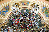 Protestors gather in the rotunda of the State Capitol on February 24, 2011 in Madison, Wisconsin. Protests over budget legislation continued for the 11th day as a bill proposed by Republican Gov. Scott Walker, which slashes benefits and revokes collective bargaining rights from state workers nears passage.