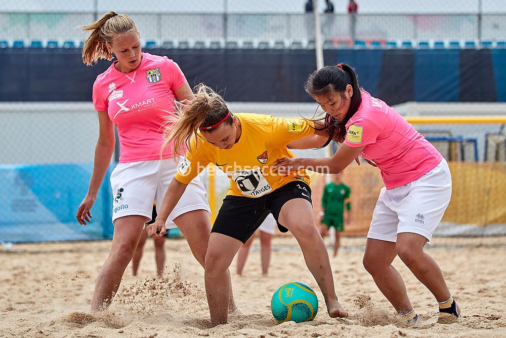 NAZARE, PORTUGAL - JUNE 4: Paula Boza of Fundacio Terrasa and Cheng Yee Man (R) of Beach Soccer Zeeland during the Euro Winners Cup Nazaré 2019 at Nazaré Beach on June 4, 2019 in Nazaré, Portugal. (Photo by Jose M. Alvarez)