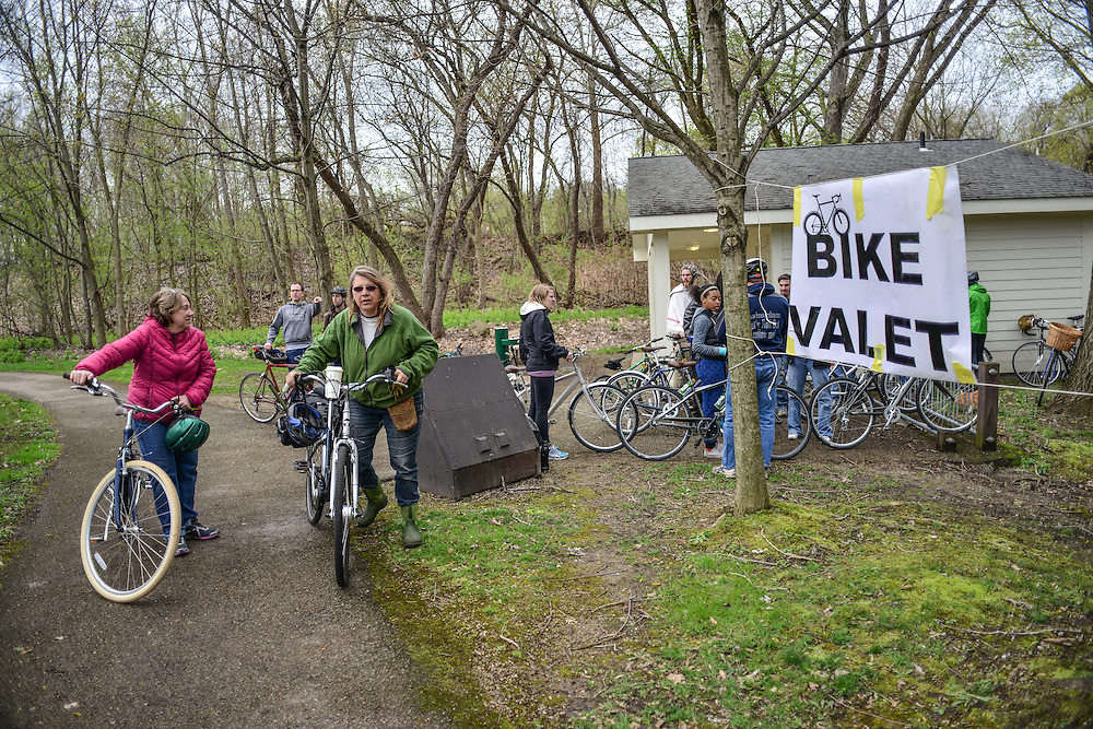 Bike valet at Block to Lock: Bike for the Earth Day.