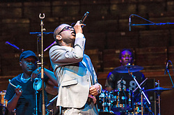 Senegalese singer and musician Youssou N'Dour makes a rare UK performance as part of the Edinburgh International Festival<br /> <br /> Photograph taken during sound-check rehearsal