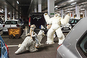 UNITED KINGDOM, London: 26 May 2019 <br /> The Smith family (father Jason and son Lachlan aged 7) get dressed in their impressive home-made Star Wars cosplay outfits in the car park before making their way into London ExCeL during the final day of the MCM London Comic Con. The three day comic convention is being held at London ExCeL from Fri 24th - Sun 26th of May.