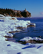 Winter view of Lake Superior and Split Rock Lighthouse, Split Rock Lighthouse State Park, Minnesota.