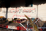 "Tunis, Tunisia. January 26th 2011.""Democratie mon Amour"" (""Democraty My Love"") written one a wall near the Kasbah Square....."