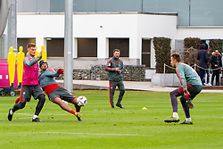 14.03.2019, Säbener Strasse, Muenchen, GER, 1. FBL, FC Bayern Muenchen vs 1. FSV Mainz 05, Training, im Bild v.l. Lars Lukas Mai (FC Bayern), Jerome Boateng (FC Bayern), CO Trainer Robert Kovac (FC Bayern), Christian Früchtl (FC Bayern) // during a trainings session before the German Bundesliga 26th round match between FC Bayern Muenchen and 1. FSV Mainz 05 at the Säbener Strasse in Muenchen, Germany on 2019/03/14. EXPA Pictures © 2019, PhotoCredit: EXPA/ Lukas Huter