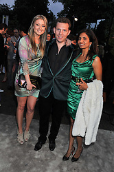 Left to right, HOLLY VALLANCE, NICK CANDY and DIVIA CADBURY at the annual Serpentine Gallery Summer Party sponsored by Burberry held at the Serpentine Gallery, Kensington Gardens, London on 28th June 2011.