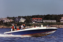 """United States President George H.W. Bush aboard his boat """"Fidelity"""" at his summer vacation home in Kennebunkport, Maine on August 8, 1991.Mandatory Credit: David Valdez / White House via CNP /ABACAPRESS.COM"""