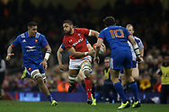 Taulupe Faletau of Wales makes a break through the French defence. Wales v France, NatWest 6 nations 2018 championship match at the Principality Stadium in Cardiff , South Wales on Saturday 17th March 2018.<br /> pic by Andrew Orchard, Andrew Orchard sports photography