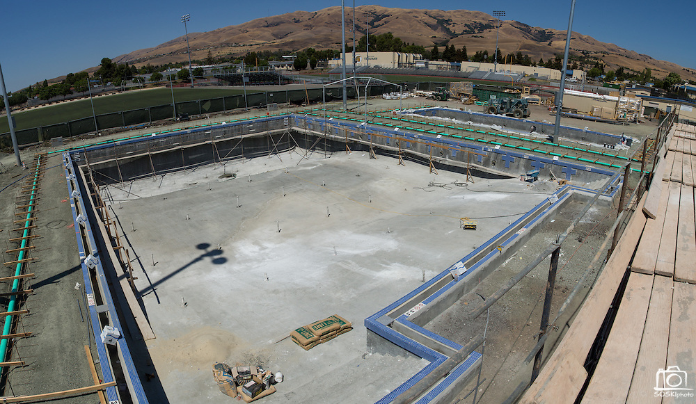 The new Milpitas High School competition and warming pools can be seen in this panoramic photograph taken at Milpitas High School in Milpitas, California, on July 18, 2014. (Stan Olszewski/SOSKIphoto)