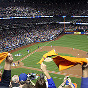 New York Mets fans celebrate a Yoenis Cespedes three run home run as he rounds the bases during the New York Mets Vs Los Angeles Dodgers, game three of the NL Division Series at Citi Field, Queens, New York. USA. 12th October 2015. Photo Tim Clayton for The Players Tribune