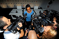 LONDON OLYMPIC GAMES 2012 - CLUB FRANCE , LONDON (ENG) - 25/07/2012 - PHOTO : POOL / KMSP / DPPI<br /> PRESS CONFERENCE - WOMEN HANDBALL TEAM - ALLISON PINEAU (FRA)