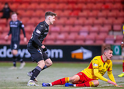 Dunfermline's Kevin Nisbet scoring their fifth goal. Dunfermline 5 v 1 Partick Thistle, Scottish Championship game played 30/11/2019 at Dunfermline's home ground, East End Park.