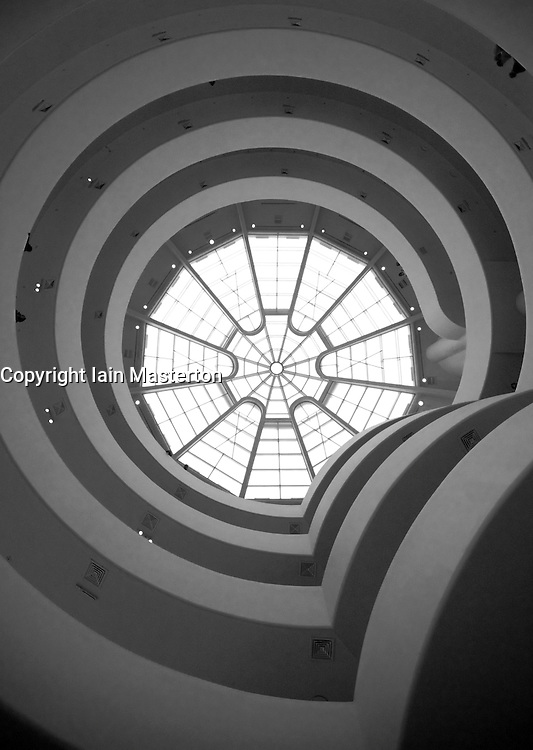 Interior view of galleries in Solomon Guggenheim Museum in Manhattan New York City