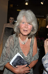 Writer JILLY COOPER at a private view of fashion designer Lindka Cierach's Couture Dresses drawn by Trudy Good held at the Belgravia Gallery, 45 Albemarle Street, London on 21st September 2005.<br />
