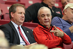 08 November 2015: Athletic Director Larry Lyons chats with broadcaster Bob Morris. Illinois State Redbirds host the Southern Indiana Screaming Eagles and beat them 88-81 in an exhibition game at Redbird Arena in Normal Illinois (Photo by Alan Look)
