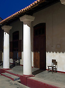 Entrance to an old colonial building at dawn in Galle, Sri Lanka