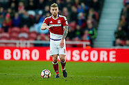 Middlesbrough midfielder Adam Clayton (8)  with the ball  during the The FA Cup match between Middlesbrough and Sheffield Wednesday at the Riverside Stadium, Middlesbrough, England on 8 January 2017. Photo by Simon Davies.