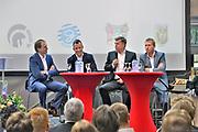 Nederland, Nijmegen, 15-4-2014De voorzitters van de vier Gelderse profclubs in het betaald voetbal , NEC, Vitesse, de Graafschap en Achilles29, tijdens een bijeenkomst op de HAN, hogeschool Arnhem Nijmegen . 2e van rechts Harrie Derks van Achilles 29 .Foto: Flip Franssen