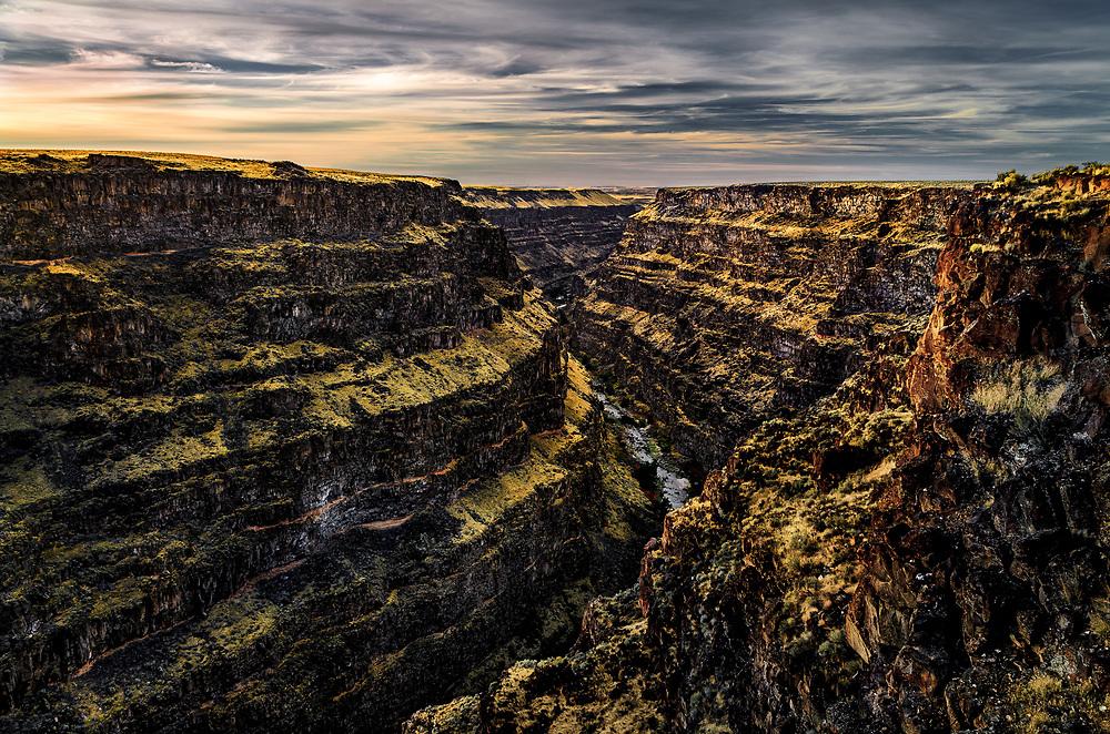 Bruneau River runs through a narrow canyon cut into ancient lava flows in southwestern Idaho.