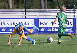 14 Sept 2019. Le Touquet, Pas de Calais, France.<br /> US Montreuil U14 v Le Touquet.<br /> Le jeu s'est terminé en match nul.<br /> Montreuil 1- Le Touquet 1.<br /> Photo©; Charlie Varley/varleypix.com